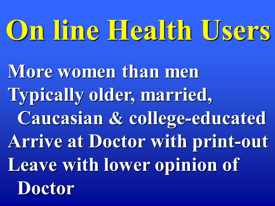 On line Health Users On line Health Users More women than men Typically older, married, Caucasian & college-educated Caucasian & college-educated Arrive at Doctor with print-out Leave with lower opinion of Doctor Doctor