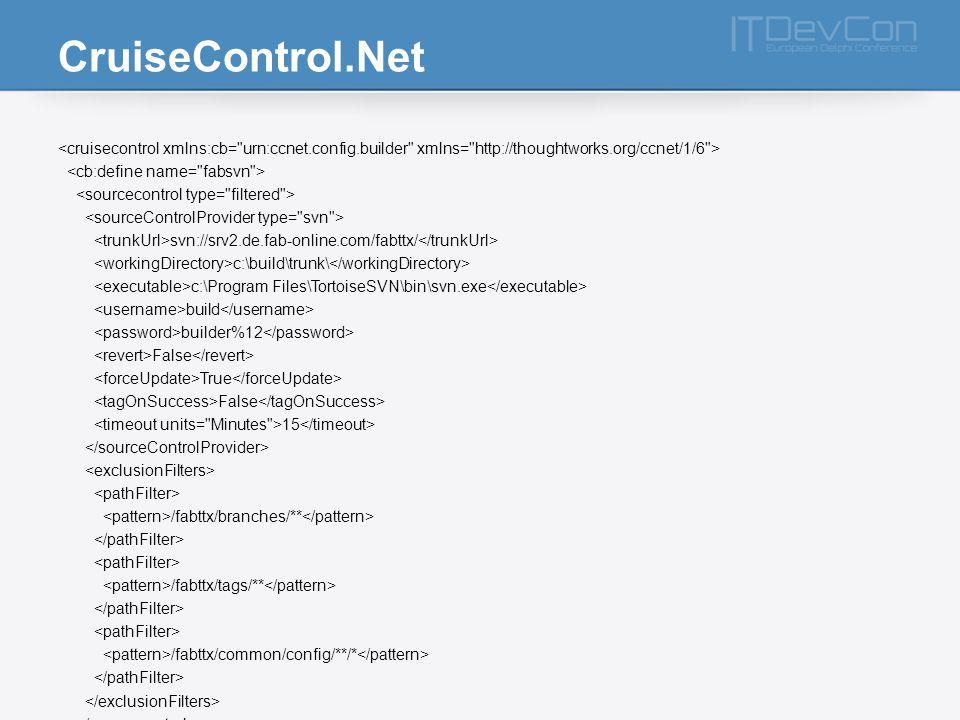 CruiseControl.Net svn://srv2.de.fab-online.com/fabttx/ c:\build\trunk\ c:\Program Files\TortoiseSVN\bin\svn.exe build builder%12 False True False 15 /fabttx/branches/** /fabttx/tags/** /fabttx/common/config/**/*