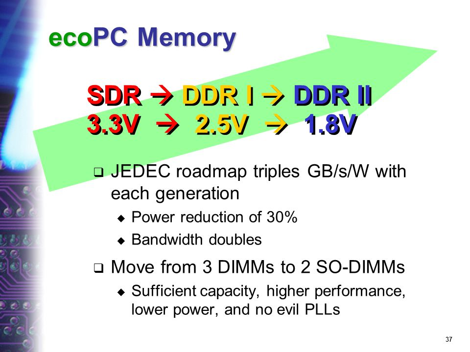 36 ecoPC Graphics Shuts down unused pipes 2D, 3D, video Rendering engines Slows memory during screen refresh Avoid unnecessary operations Scatter-gath
