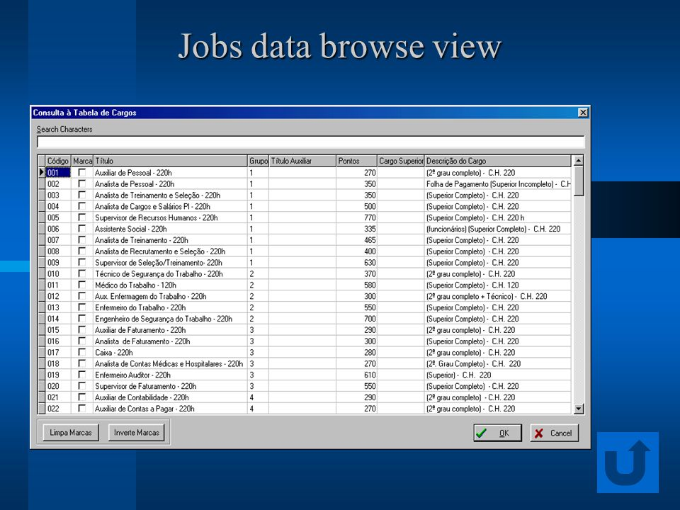 Jobs data browse view