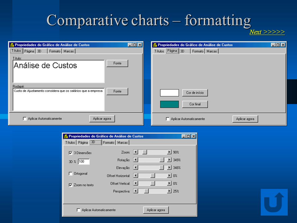 Comparative charts – formatting Next >>>>> Next >>>>>