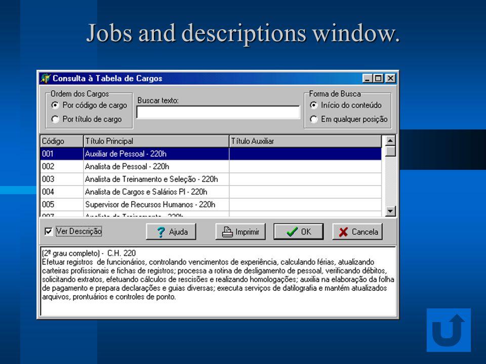 Jobs and descriptions window.