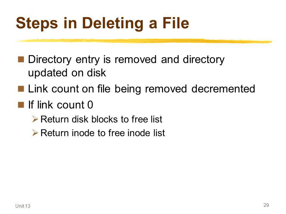 Unit 13 29 Steps in Deleting a File Directory entry is removed and directory updated on disk Link count on file being removed decremented If link count 0 Return disk blocks to free list Return inode to free inode list