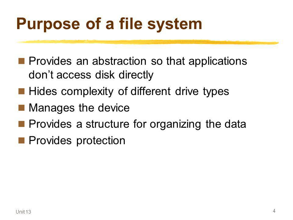 Unit 13 4 Purpose of a file system Provides an abstraction so that applications dont access disk directly Hides complexity of different drive types Manages the device Provides a structure for organizing the data Provides protection