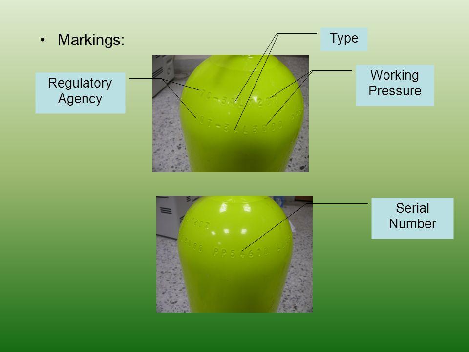 Markings: Regulatory Agency Type Working Pressure Serial Number