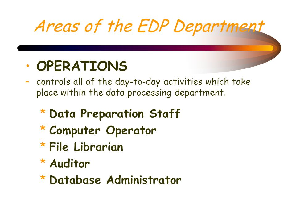 Areas of the EDP Department *Applications Programmers They are provided with the requirements of a job and are asked to develop logic and then code, d