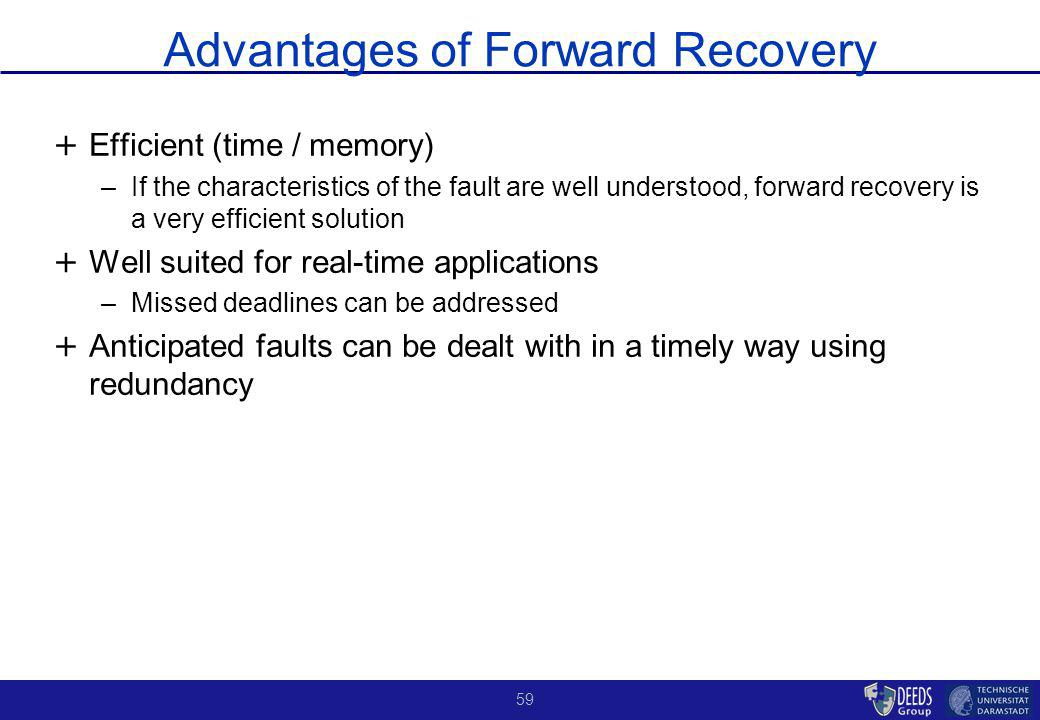 59 Advantages of Forward Recovery + + Efficient (time / memory) –If the characteristics of the fault are well understood, forward recovery is a very efficient solution + + Well suited for real-time applications –Missed deadlines can be addressed + + Anticipated faults can be dealt with in a timely way using redundancy