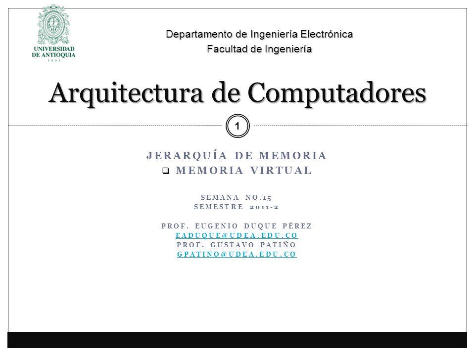 JERARQUÍA DE MEMORIA MEMORIA VIRTUAL SEMANA NO.15 SEMESTRE 2011-2 PROF.