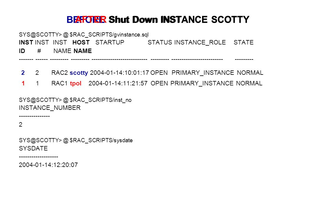 BEFORE Shut Down INSTANCE SCOTTY SYS@SCOTTY> @ $RAC_SCRIPTS/gvinstance.sql INST INST INST HOST STARTUP STATUS INSTANCE_ROLE STATE ID # NAME NAME ------- ------ --------- --------- --------------------------- --------- ------------------------- --------- 1 1 RAC1 tpol 2004-01-14:11:21:57 OPEN PRIMARY_INSTANCE NORMAL SYS@SCOTTY> @ $RAC_SCRIPTS/inst_no INSTANCE_NUMBER --------------- 2 SYS@SCOTTY> @ $RAC_SCRIPTS/sysdate SYSDATE ------------------- 2004-01-14:12:20:07 2 2 RAC2 scotty 2004-01-14:10:01:17 OPEN PRIMARY_INSTANCE NORMAL AFTER Shut Down INSTANCE SCOTTY