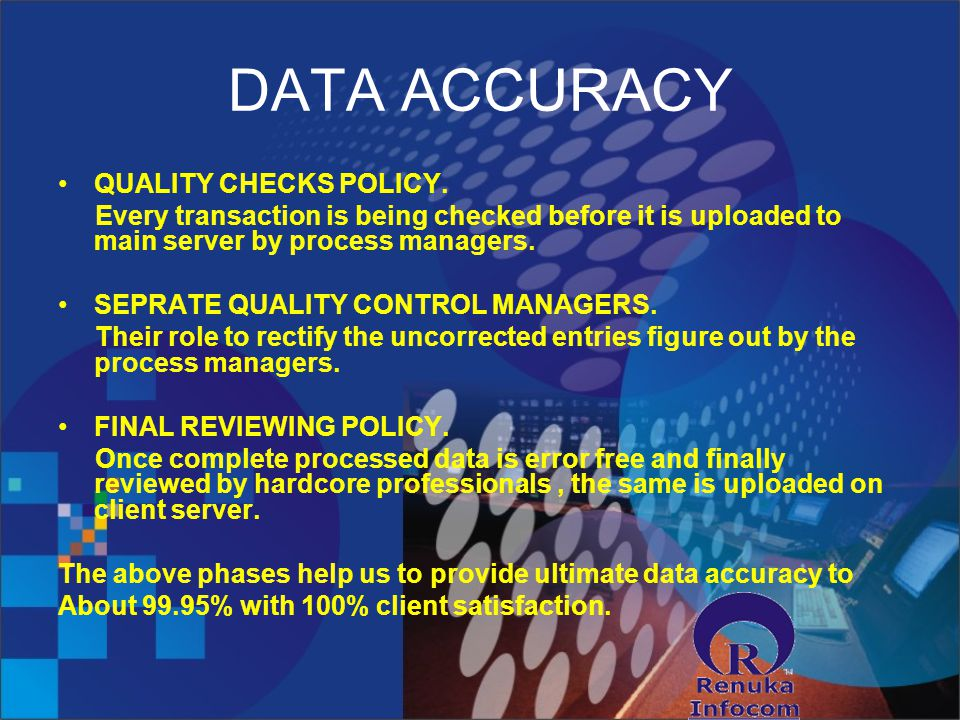 DATA ACCURACY QUALITY CHECKS POLICY.