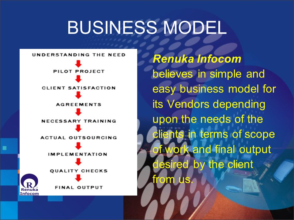 BUSINESS MODEL Renuka Infocom believes in simple and easy business model for its Vendors depending upon the needs of the clients in terms of scope of work and final output desired by the client from us.