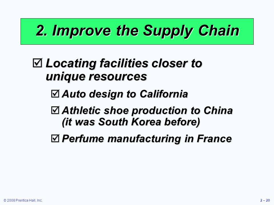 © 2008 Prentice Hall, Inc.2 – 20 2. Improve the Supply Chain Locating facilities closer to unique resources Locating facilities closer to unique resou