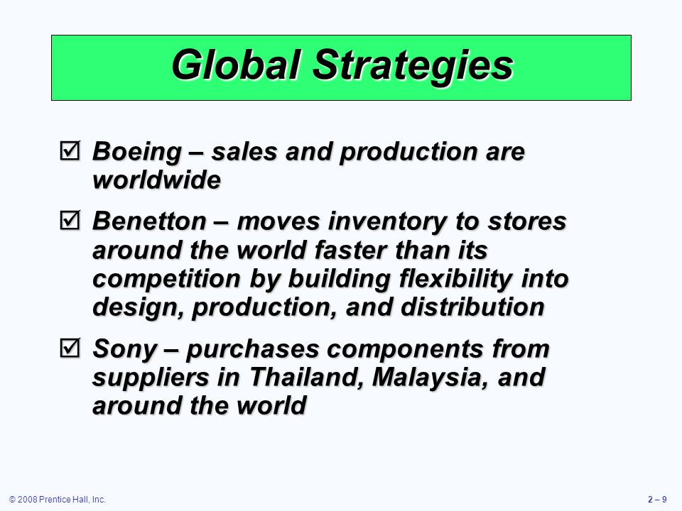 © 2008 Prentice Hall, Inc.2 – 40 To provide excellent telecommunication solutions within the framework of Total Quality Management philosophy.