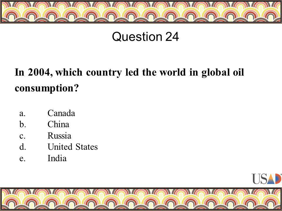 In 2004, which country led the world in global oil consumption? Question 24 a.Canada b.China c.Russia d.United States e.India
