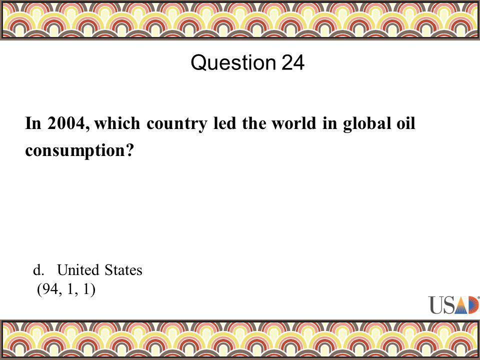 In 2004, which country led the world in global oil consumption? Question 24 d.United States (94, 1, 1)