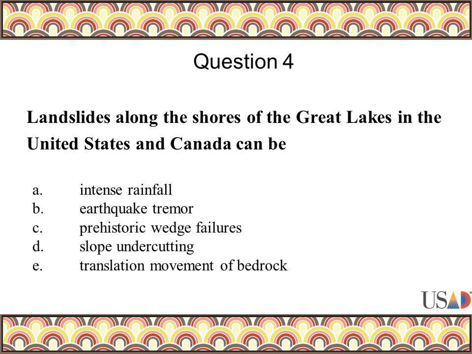 Landslides along the shores of the Great Lakes in the United States and Canada can be Question 4 a.