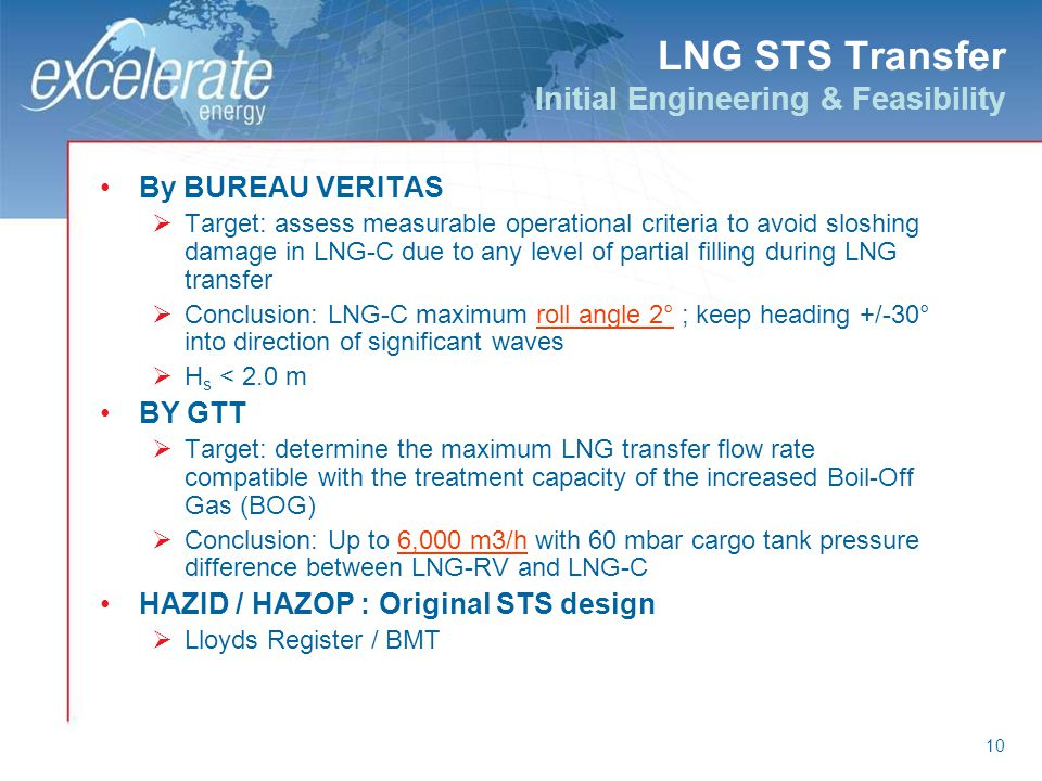 10 LNG STS Transfer Initial Engineering & Feasibility By BUREAU VERITAS Target: assess measurable operational criteria to avoid sloshing damage in LNG