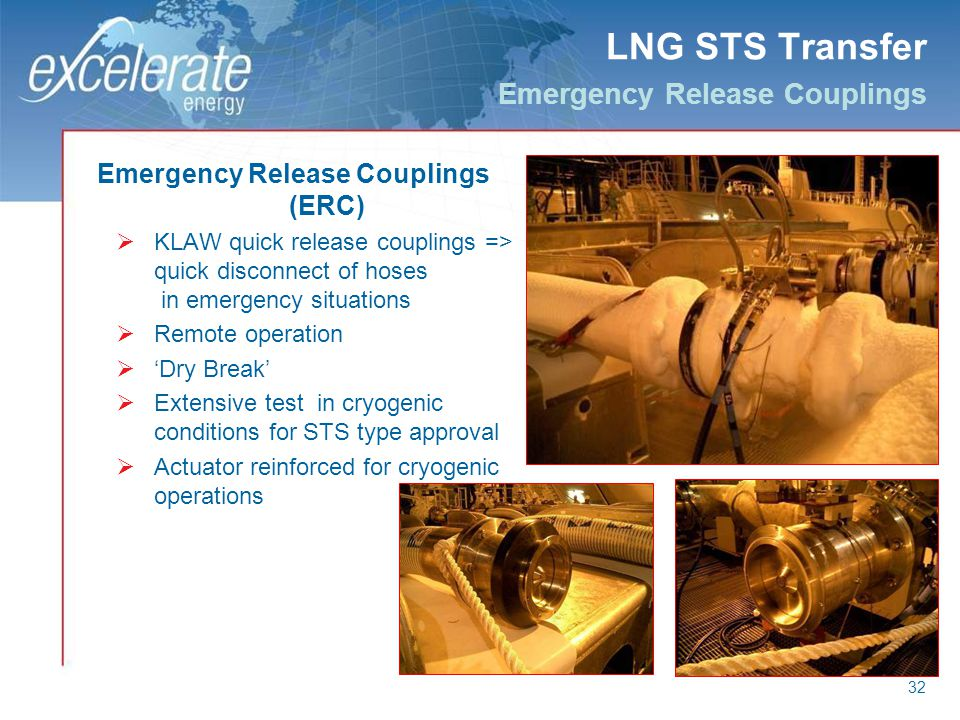 32 LNG STS Transfer Emergency Release Couplings Emergency Release Couplings (ERC) KLAW quick release couplings => quick disconnect of hoses in emergen
