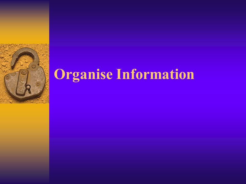 Organise Information