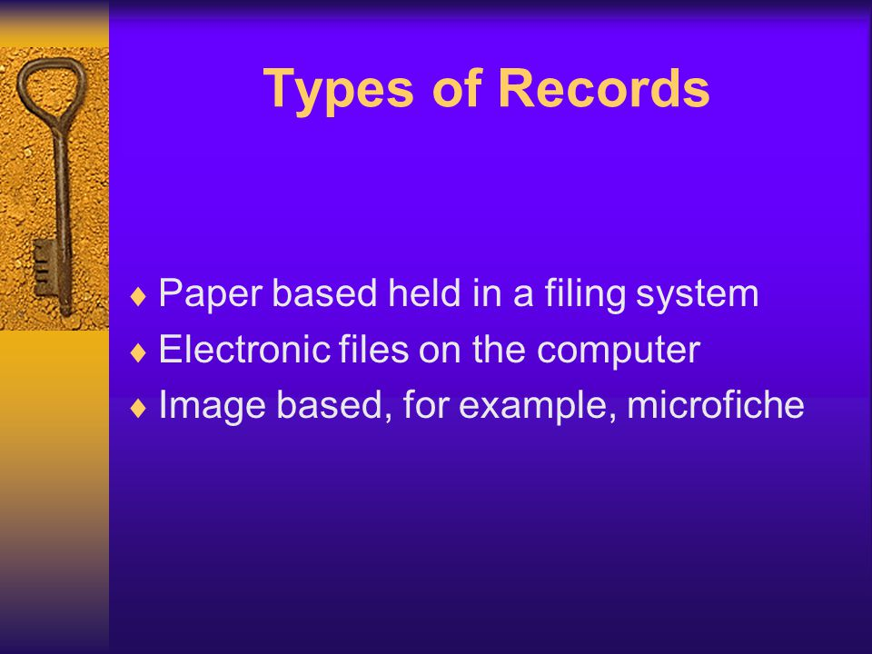 Location of files Centralised filing system –All organisational records kept in one central location (like a registry for hard copy files or a server for electronic files) Decentralised filing system –Each department in the organisation looks after its own files –Each department may have its own rules for creating and filing records –Electronic files may be kept on each persons own computer