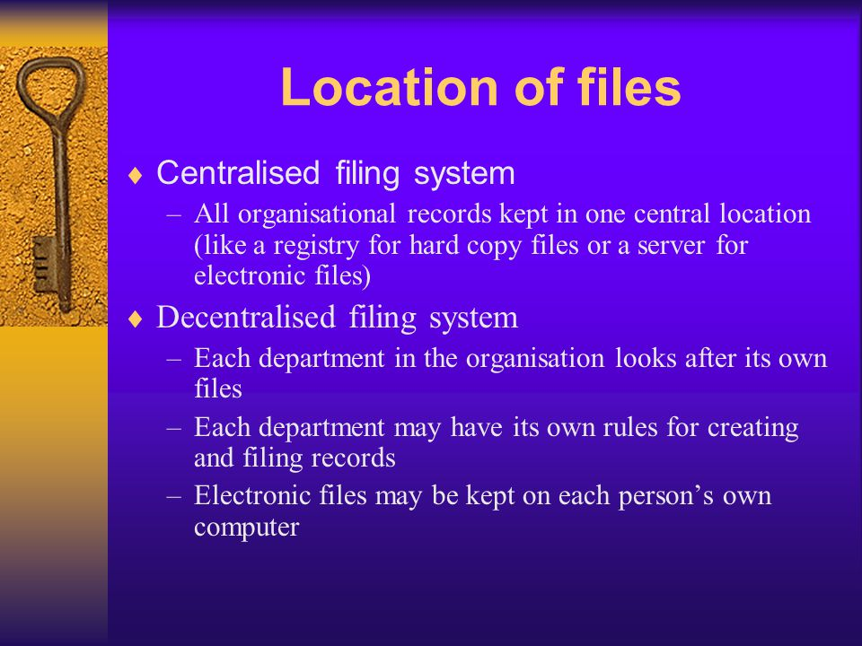 Incorporating New Files Must be logical Should be recorded in a file register, file database or file index system which should be kept to keep track of the organisations files File registers, databases or index should: –Show file name/number –Keywords used for searching –Description of the documents in the file –Date on which the file was created