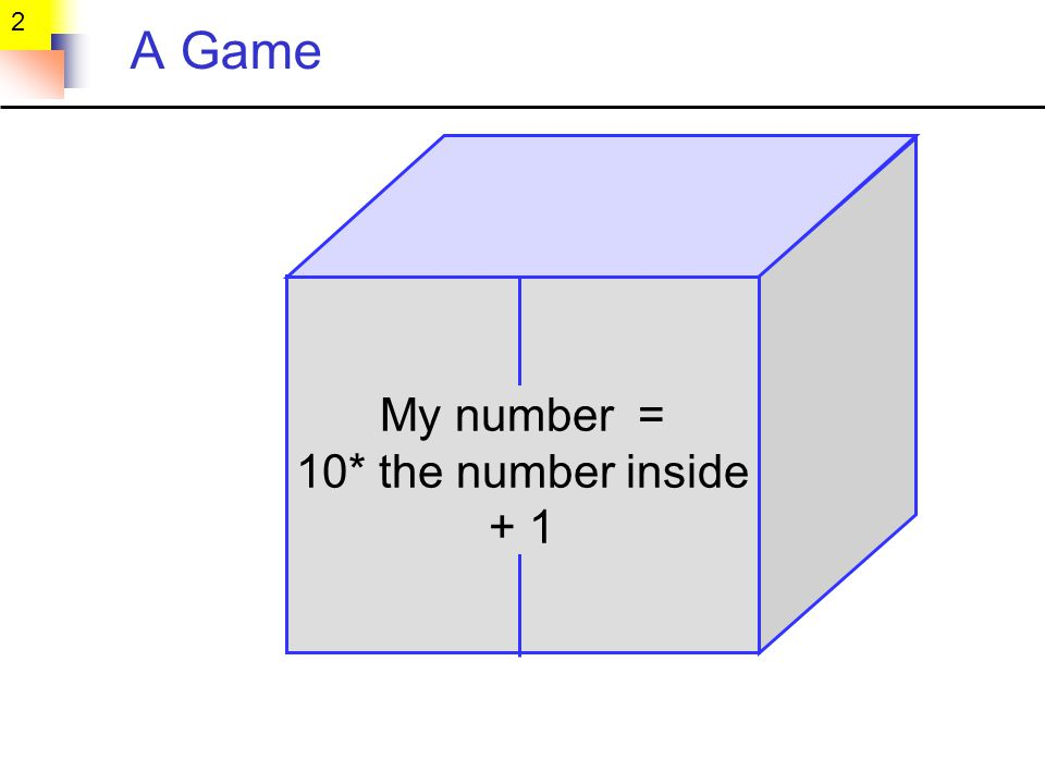 2 A Game My number = 10* the number inside + 1