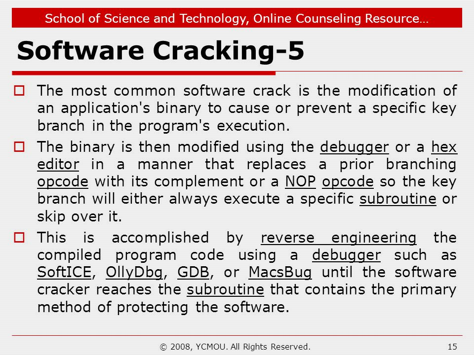 School of Science and Technology, Online Counseling Resource… Software Cracking-5 The most common software crack is the modification of an application