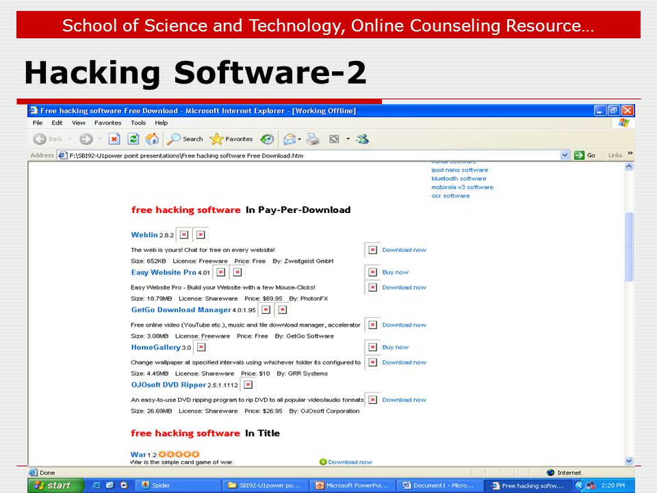 School of Science and Technology, Online Counseling Resource… Hacking Software-2