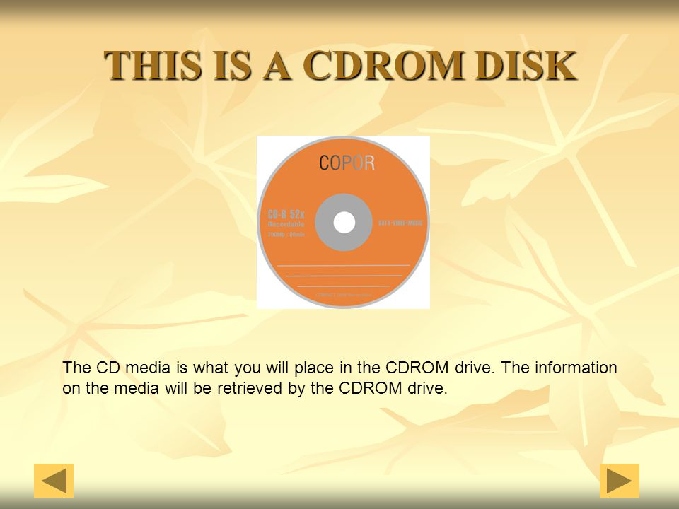 THIS IS A CDROM DISK The CD media is what you will place in the CDROM drive. The information on the media will be retrieved by the CDROM drive.