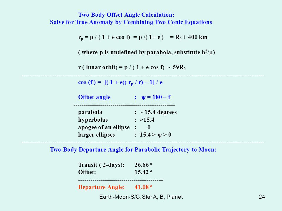 Earth-Moon-S/C: Star A, B, Planet24 Two Body Offset Angle Calculation: Solve for True Anomaly by Combining Two Conic Equations r p = p / ( 1 + e cos f
