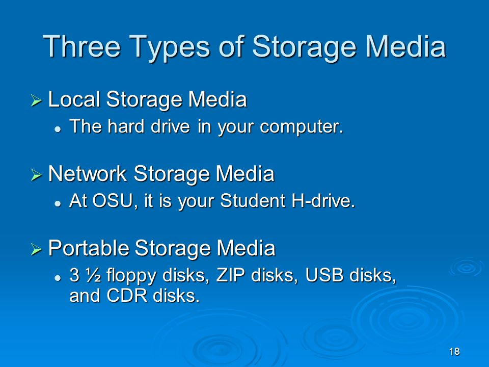 18 Three Types of Storage Media Local Storage Media Local Storage Media The hard drive in your computer. The hard drive in your computer. Network Stor