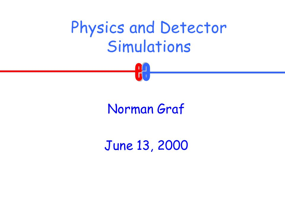 Physics and Detector Simulations Norman Graf June 13, 2000