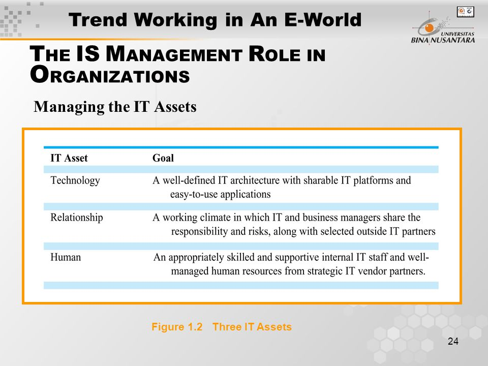24 Figure 1.2 Three IT Assets Managing the IT Assets T HE IS M ANAGEMENT R OLE IN O RGANIZATIONS Trend Working in An E-World