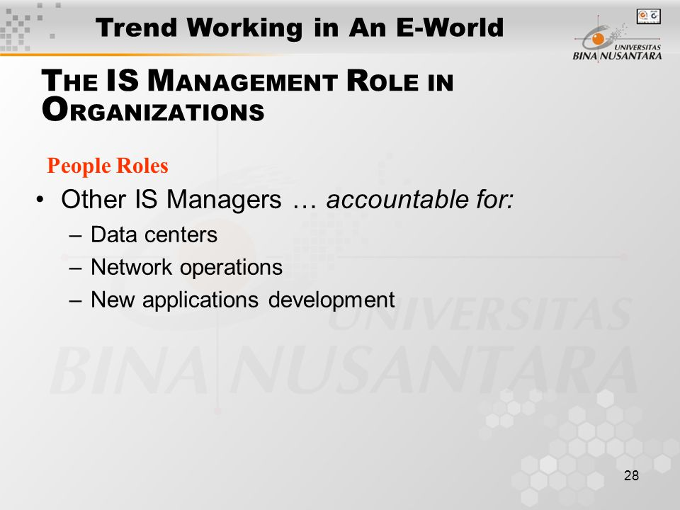 28 T HE IS M ANAGEMENT R OLE IN O RGANIZATIONS People Roles Other IS Managers … accountable for: –Data centers –Network operations –New applications development Trend Working in An E-World