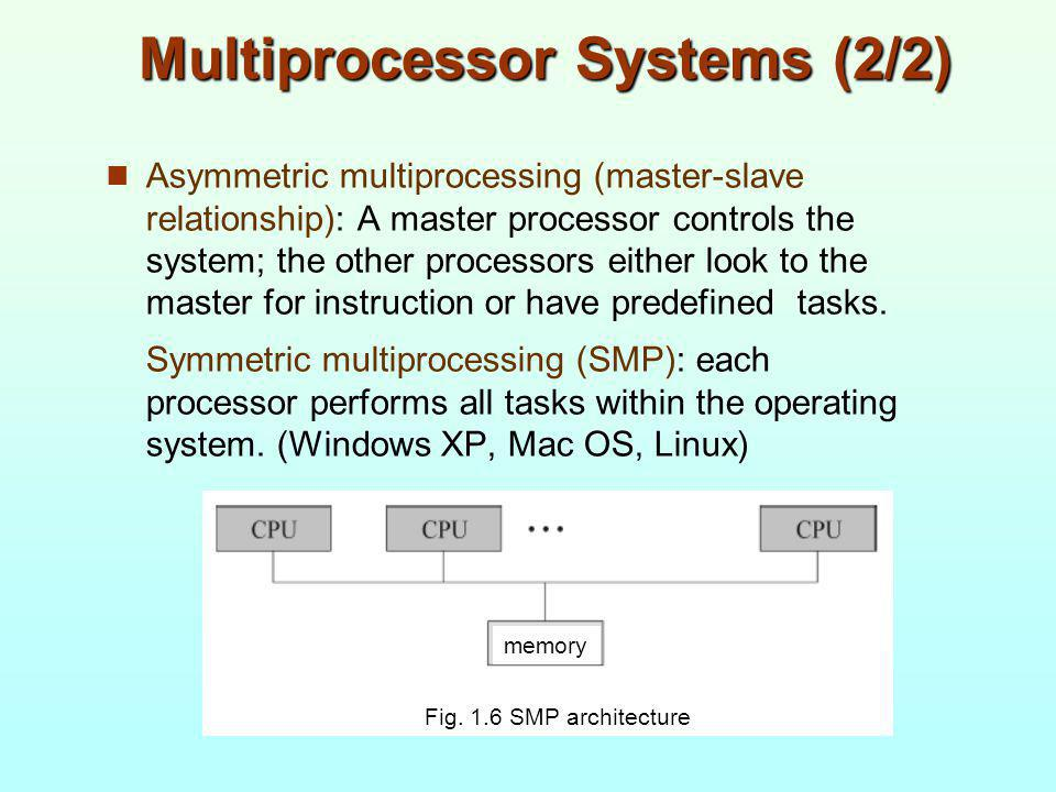 Multiprocessor Systems (2/2) Asymmetric multiprocessing (master-slave relationship): A master processor controls the system; the other processors eith