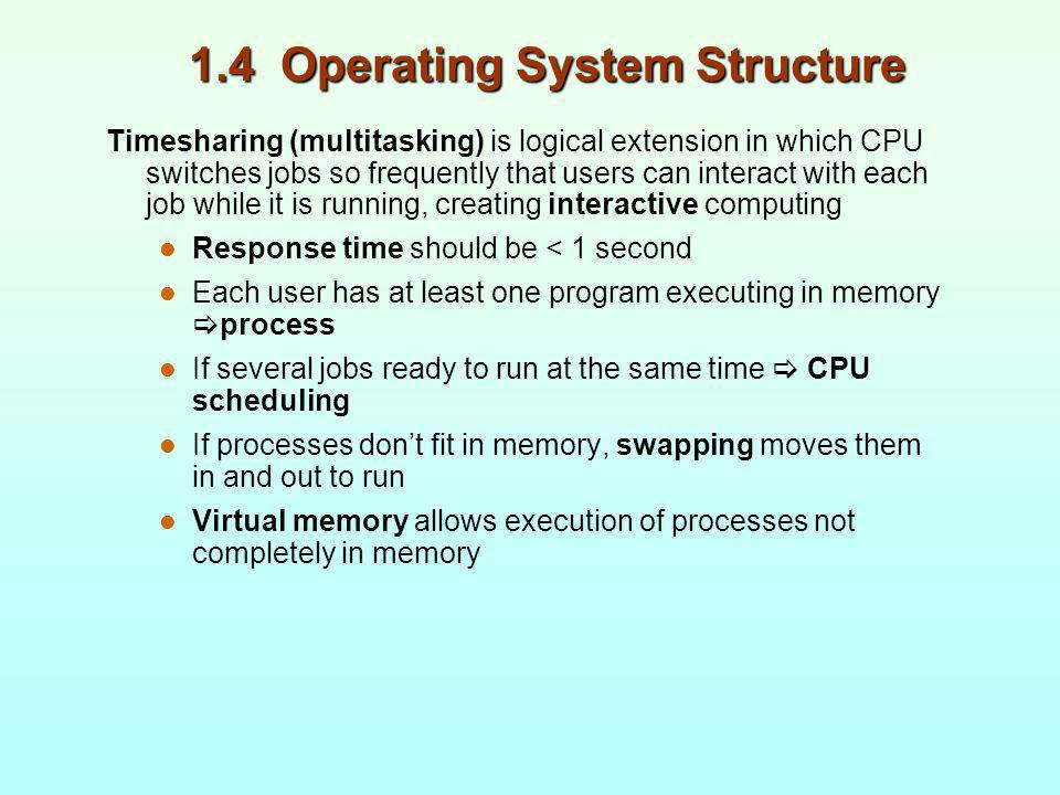 1.4 Operating System Structure Timesharing (multitasking) is logical extension in which CPU switches jobs so frequently that users can interact with e
