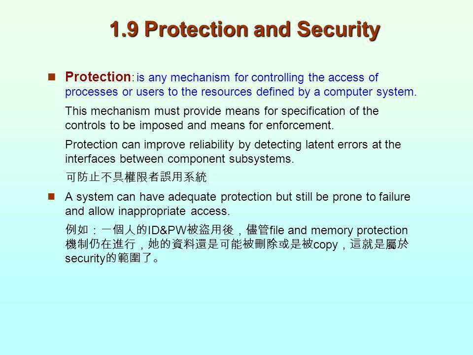 1.9 Protection and Security Protection : is any mechanism for controlling the access of processes or users to the resources defined by a computer syst
