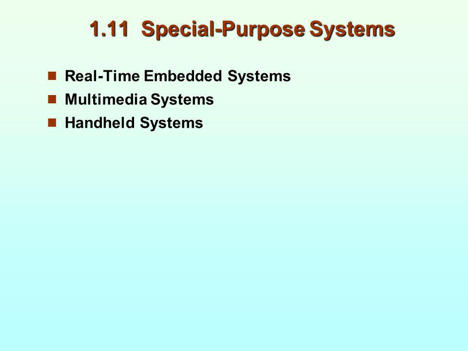 1.11 Special-Purpose Systems Real-Time Embedded Systems Multimedia Systems Handheld Systems