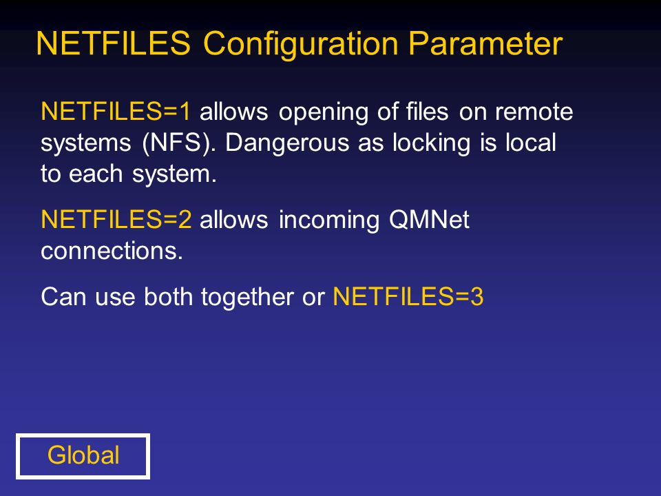 NETFILES Configuration Parameter NETFILES=1 allows opening of files on remote systems (NFS). Dangerous as locking is local to each system. NETFILES=2
