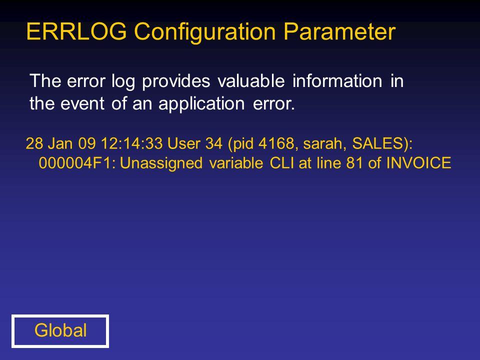 ERRLOG Configuration Parameter The error log provides valuable information in the event of an application error. Global 28 Jan 09 12:14:33 User 34 (pi