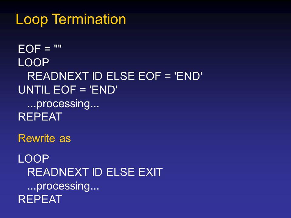 Loop Termination EOF =