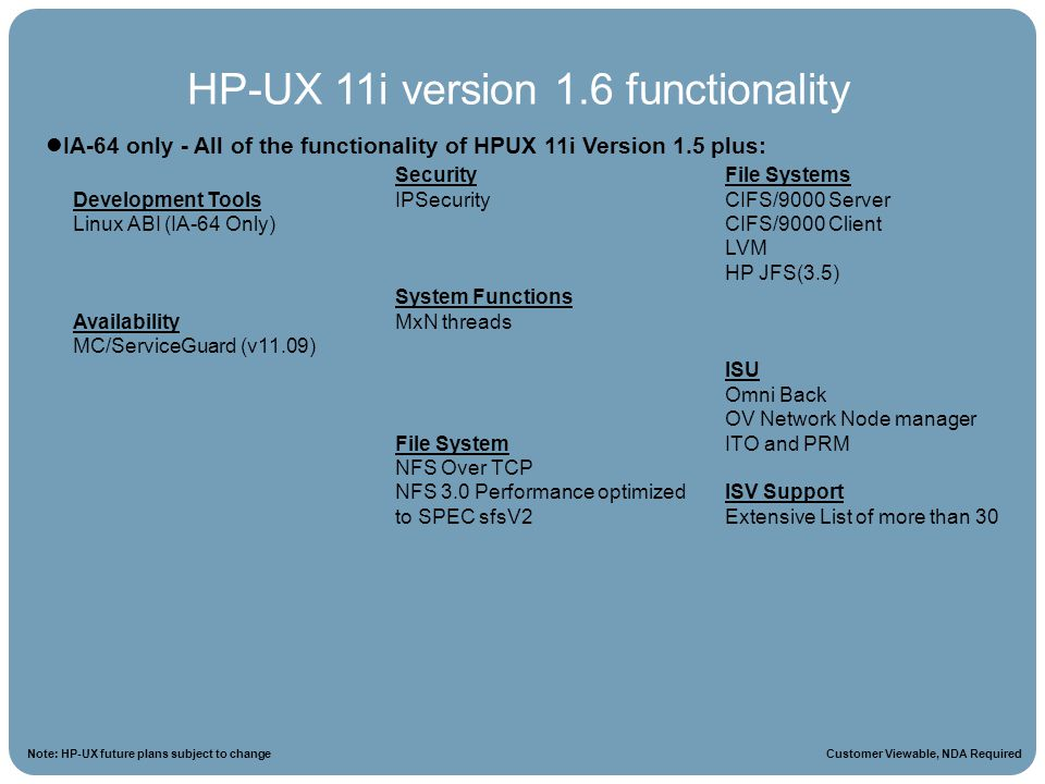 HPUX 11i Roadmap Note: HP-UX future plans subject to change IA-64 only - All of the functionality of HPUX 11i Version 1.5 plus: HP-UX 11i version 1.6