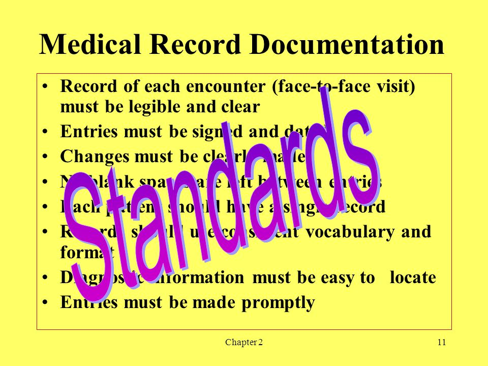 Chapter 211 Medical Record Documentation Record of each encounter (face-to-face visit) must be legible and clear Entries must be signed and dated Changes must be clearly made No blank spaces are left between entries Each patient should have a single record Records should use consistent vocabulary and format Diagnostic information must be easy to locate Entries must be made promptly