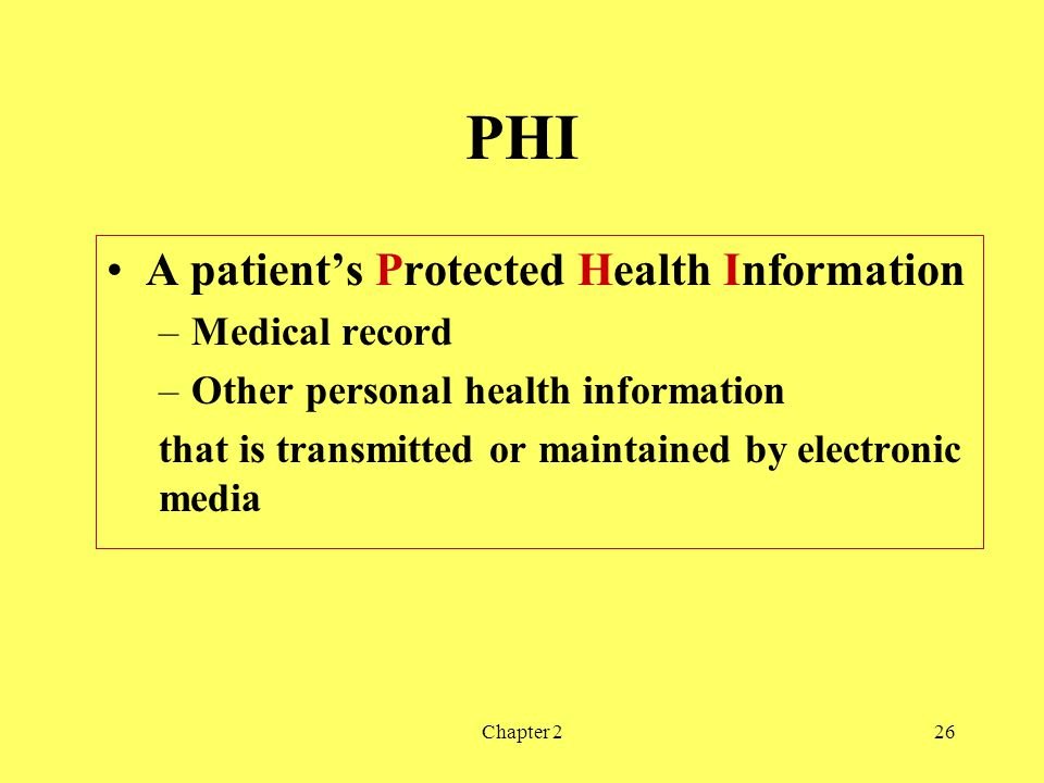 Chapter 226 PHI A patients Protected Health Information –Medical record –Other personal health information that is transmitted or maintained by electronic media