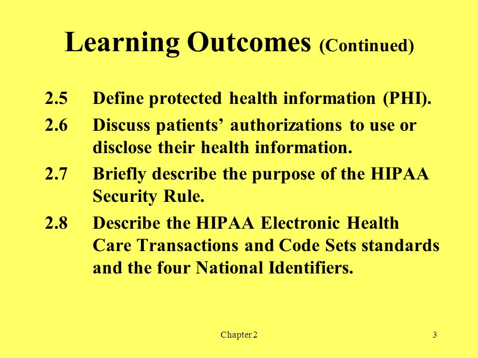Chapter 23 Learning Outcomes (Continued) 2.5Define protected health information (PHI).