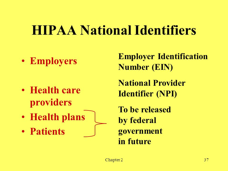 Chapter 237 HIPAA National Identifiers Employers Health care providers Health plans Patients Employer Identification Number (EIN) To be released by federal government in future National Provider Identifier (NPI)