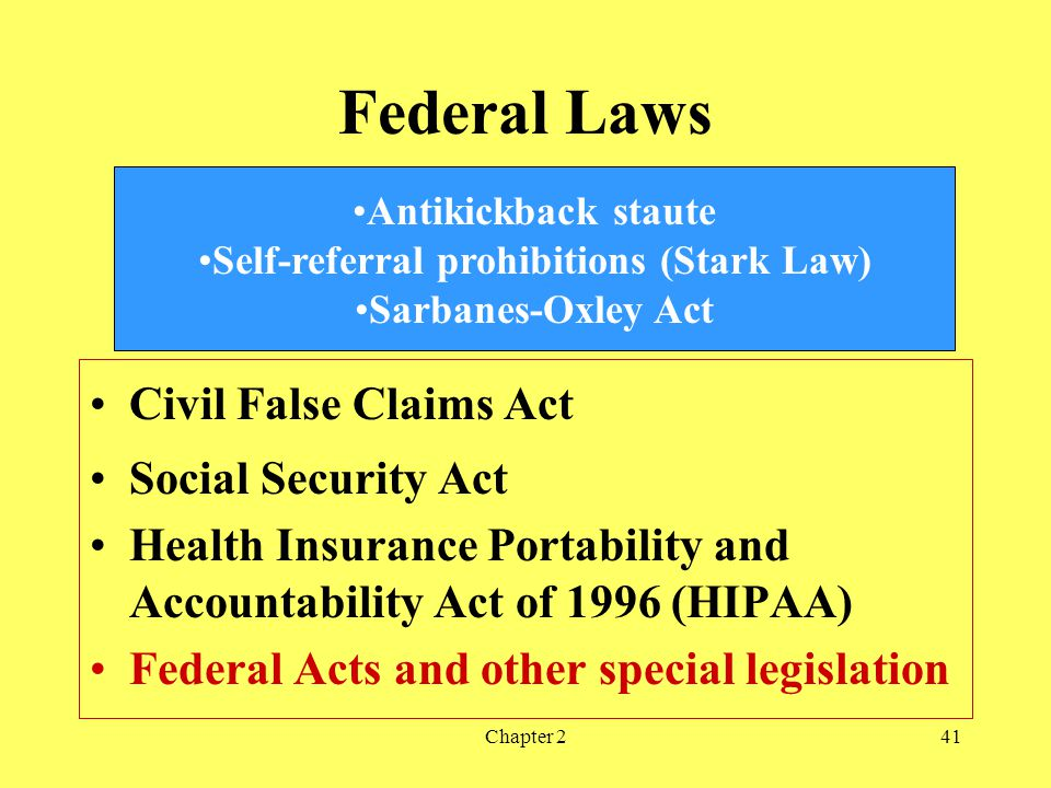 Chapter 241 Federal Laws Civil False Claims Act Social Security Act Health Insurance Portability and Accountability Act of 1996 (HIPAA) Federal Acts and other special legislation Antikickback staute Self-referral prohibitions (Stark Law) Sarbanes-Oxley Act