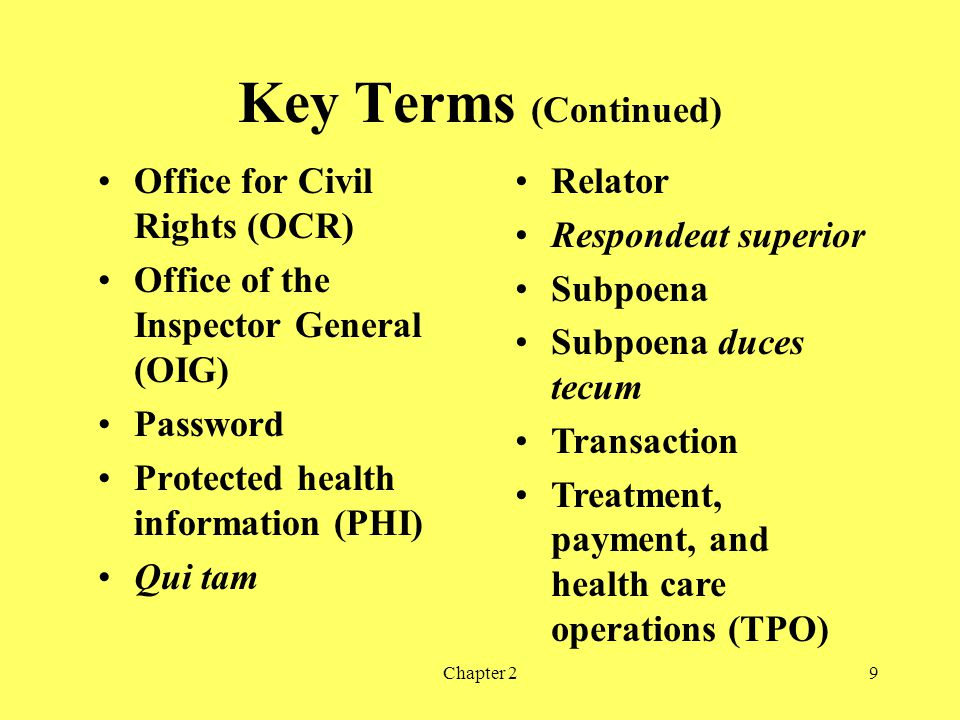 Key Terms (Continued) Chapter 29 Office for Civil Rights (OCR) Office of the Inspector General (OIG) Password Protected health information (PHI) Qui tam Relator Respondeat superior Subpoena Subpoena duces tecum Transaction Treatment, payment, and health care operations (TPO)
