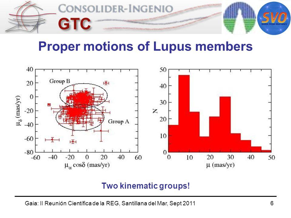 Gaia: II Reunión Científica de la REG, Santillana del Mar, Sept 20117 Proper motions of Lupus members Lupus 1: The two groups have different spatial distributions and proper motion directions.