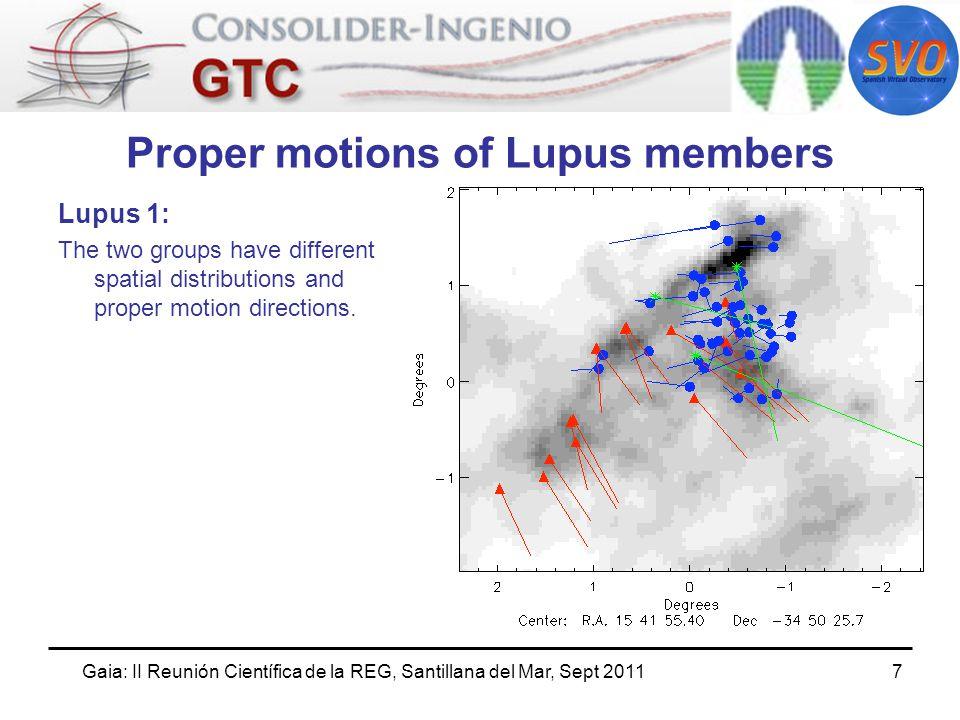 Gaia: II Reunión Científica de la REG, Santillana del Mar, Sept 20118 Proper motions of Lupus members Lupus 3: The two groups have different spatial distributions and proper motion directions.
